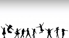 Happy kids, hand drawn silhouettes of children dancing and playing